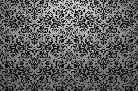 Wallpaper in the style of Baroque. Seamless vector background. Black floral ornament. Graphic pattern for fabric, wallpaper, packaging. Ornate Damask flower ornament  イラスト・ベクター素材