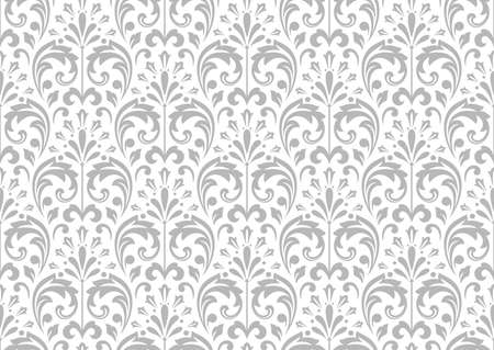 Wallpaper in the style of Baroque. Seamless background. White and grey floral ornament. Graphic pattern for fabric, wallpaper, packaging. Ornate Damask flower ornament. 写真素材