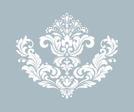 Damask graphic ornament. Floral design element. Blue pattern Фото со стока - 130110588