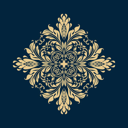 Damask graphic ornament. Floral design element. Gold pattern Фото со стока - 130110589