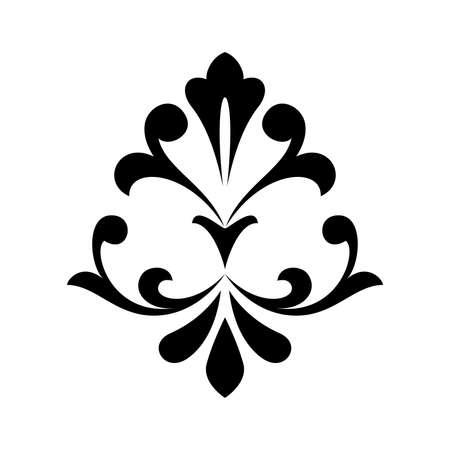 Damask graphic ornament. Floral design element. Black pattern. Фото со стока - 130110643