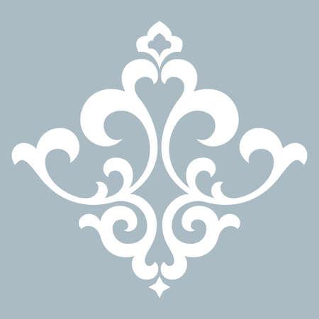 Damask graphic ornament. Floral design element. Blue pattern Фото со стока - 130110658