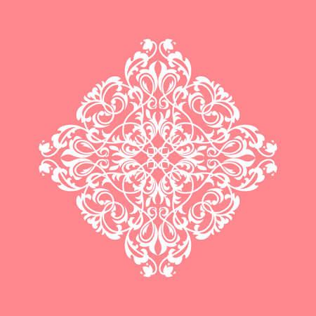 Damask graphic ornament. Floral design element. Pink pattern Фото со стока - 130110710