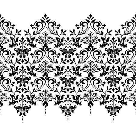 Floral pattern. Vintage wallpaper in the Baroque style. Seamless background. White and black ornament for fabric, wallpaper, packaging. Ornate Damask flower ornament Фото со стока - 130114460