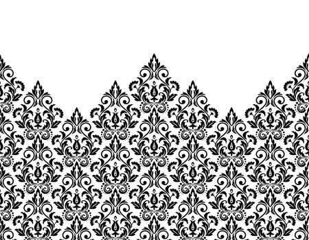 Wallpaper in the style of Baroque. Modern background. White and black floral ornament. Graphic pattern for fabric, wallpaper, packaging. Ornate Damask flower ornament