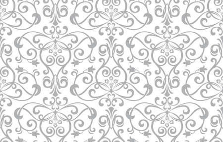 Floral pattern. Vintage wallpaper in the Baroque style. Seamless background. White and grey ornament for fabric, wallpaper, packaging. Ornate Damask flower ornament. Фото со стока - 130113161