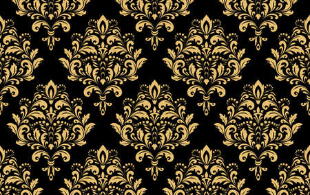 Wallpaper in the style of Baroque. Seamless background. Gold and black floral ornament. Graphic pattern for fabric, wallpaper, packaging. Ornate Damask flower ornament