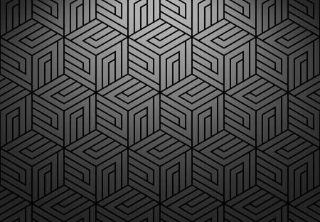 Abstract geometric pattern with stripes, lines. Seamless vector background. Black and grey ornament. Simple lattice graphic design Фото со стока - 130345878