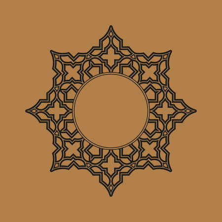Decorative frame Elegant vector element for design in Eastern style, place for text. Geometric border. Lace illustration for invitations and greeting cards