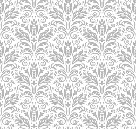 Wallpaper in the style of Baroque. Seamless background. White and grey floral ornament. Graphic pattern for fabric, wallpaper, packaging. Ornate Damask flower ornament. Stock fotó