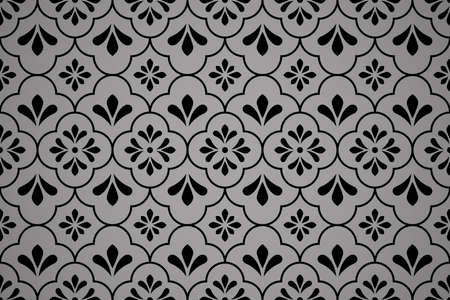 Flower geometric pattern. Seamless background. Black ornament. Ornament for fabric, wallpaper, packaging, Decorative print