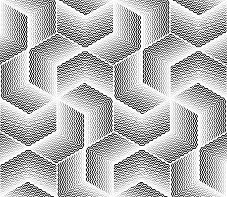 The geometric pattern with wavy lines. Seamless background. White and black texture. Simple lattice graphic design Stok Fotoğraf