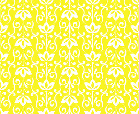 Flower geometric pattern. Seamless background. White and yellow ornament. Ornament for fabric, wallpaper, packaging, Decorative print Stok Fotoğraf