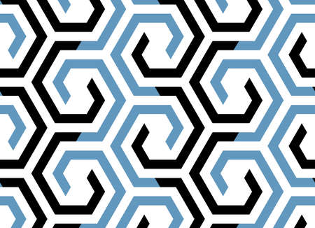 Abstract geometric pattern with stripes, lines. Seamless vector background. Blue and black ornament. Simple lattice graphic design Çizim