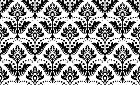 Wallpaper in the style of Baroque. Seamless vector background. White and black floral ornament. Graphic pattern for fabric, wallpaper, packaging. Ornate Damask flower ornament