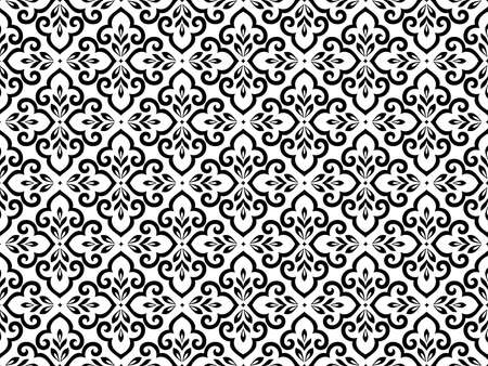 Flower geometric pattern. Seamless background. White and black ornament. Ornament for fabric, wallpaper, packaging, Decorative print