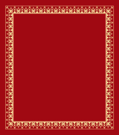Decorative frame Elegant element for design in Eastern style, place for text. Floral golden and red border. Lace illustration for invitations and greeting cards