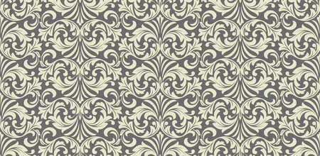 Floral pattern. Vintage wallpaper in the Baroque style. Seamless background. Grey ornament for fabric, wallpaper, packaging. Ornate Damask flower ornament