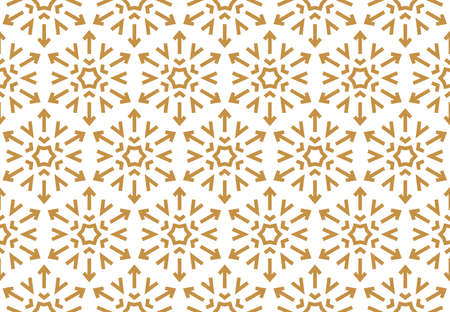 Abstract geometric pattern with lines, snowflakes. A seamless background. White and gold texture. Graphic modern pattern Stok Fotoğraf