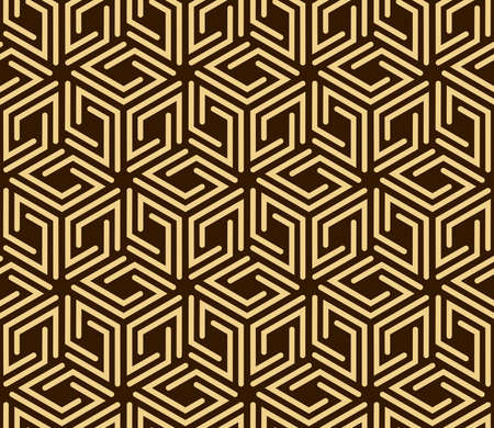 Abstract geometric pattern with stripes, lines. Seamless background. Gold and dark brown ornament. Simple lattice graphic design Stok Fotoğraf