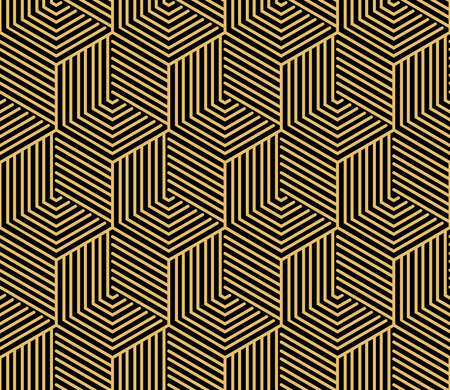 Abstract geometric pattern with stripes, lines. Seamless background. Gold and black ornament. Simple lattice graphic design
