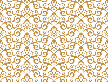Wallpaper in the style of Baroque. Seamless background. White and gold floral ornament. Graphic pattern for fabric, wallpaper, packaging. Ornate Damask flower ornament Stock fotó