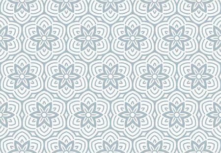 Flower geometric pattern. Seamless background. White and blue ornament. Ornament for fabric, wallpaper, packaging, Decorative print Stok Fotoğraf