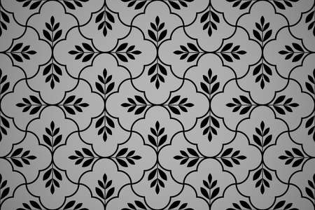 Flower geometric pattern. Seamless background., Black ornament. Ornament for fabric, wallpaper, packaging, Decorative print