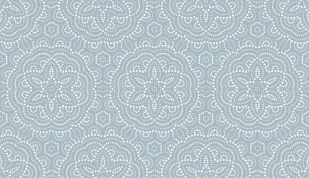 Flower geometric pattern. with points Seamless background. White and blue ornament. Ornament for fabric, wallpaper, packaging, Decorative print
