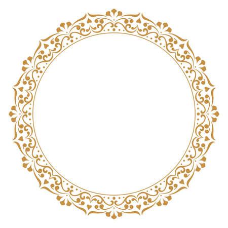 Decoratief frame Elegante vectorelement voor ontwerp in Oost-stijl, plaats voor tekst. Floral gouden rand. Kant illustratie voor uitnodigingen en wenskaarten.