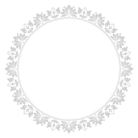 Decorative frame Elegant vector element for design in Eastern style, place for text. Floral grey border. Lace illustration for invitations and greeting cards  イラスト・ベクター素材