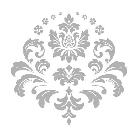 Damask graphic ornament. Floral design element. Grey pattern