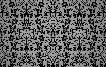 Wallpaper in the style of Baroque. Seamless background. White and black floral ornament. Graphic pattern for fabric, wallpaper, packaging. Ornate Damask flower ornament Zdjęcie Seryjne