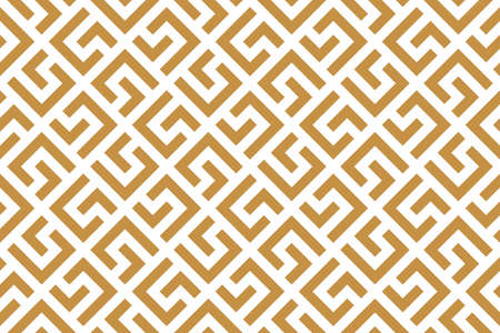 Abstract geometric pattern with stripes, lines. Seamless background. White and gold ornament. Simple lattice graphic design 写真素材