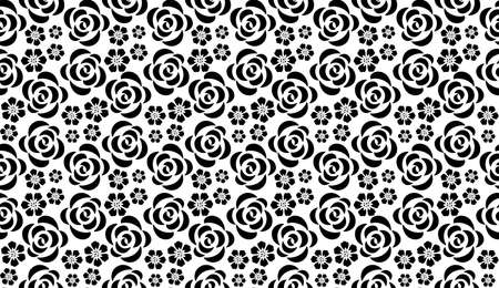 Flower geometric pattern with roses. Seamless background. White and black ornament. Ornament for fabric, wallpaper, packaging, Decorative print