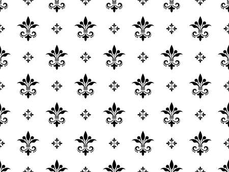 Wallpaper with lilies. Seamless background. White and black floral ornament. Graphic pattern for fabric, wallpaper, packaging. Ornate Damask flower ornament Zdjęcie Seryjne