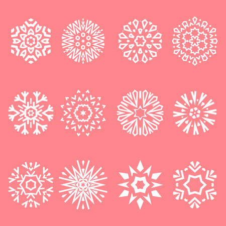 Snowflakes icon collection. Graphic modern pink ornament