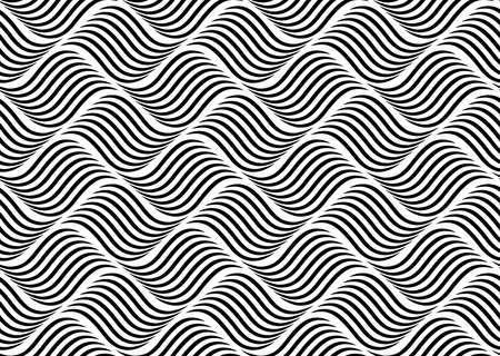The geometric pattern with wavy lines. Seamless background. White and black texture. Simple lattice graphic design Zdjęcie Seryjne