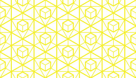 The geometric pattern with lines. Seamless vector background. White and yellow texture. Graphic modern pattern. Simple lattice graphic design