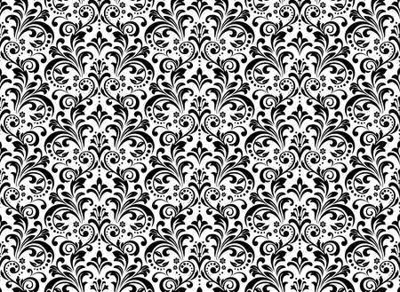 Wallpaper in the style of Baroque. Seamless background. White and black floral ornament. Graphic pattern for fabric, wallpaper, packaging. Ornate Damask flower ornament 写真素材