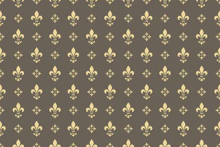 Tapeta w stylu barokowym. Bezszwowe tło. Złoty i szary kwiatowy ornament. Wzór graficzny na tkaninę, tapetę, opakowanie. Ozdobny ornament z kwiatów adamaszku
