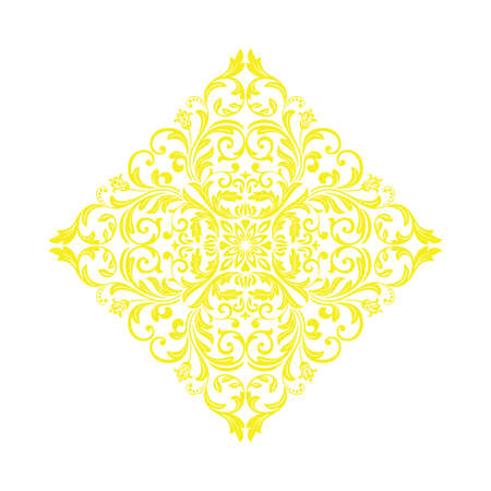 Damask graphic ornament. Floral design element. Yellow vector pattern Çizim