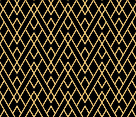 The geometric pattern with lines. Seamless vector background. Gold and black texture. Graphic modern pattern. Simple lattice graphic design Ilustração