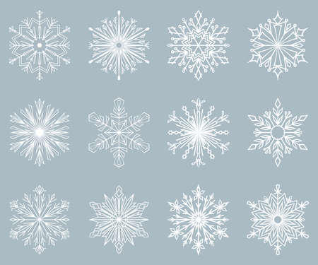 Snowflakes icon collection. Graphic modern blue ornament. Ilustracja