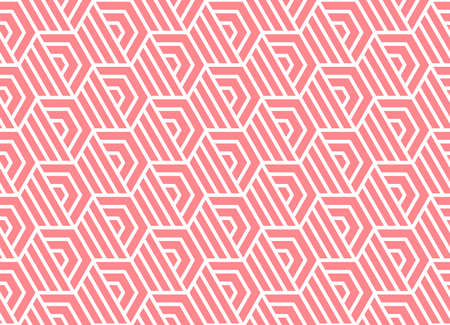 Abstract geometric pattern with stripes, lines. Seamless vector background. White and pink ornament. Simple lattice graphic design Çizim