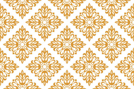 Wallpaper in the style of Baroque. Seamless vector background. White and gold floral ornament. Graphic pattern for fabric, wallpaper, packaging. Ornate Damask flower ornament  イラスト・ベクター素材