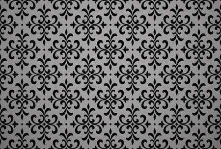 Wallpaper in the style of Baroque. Seamless background. Black floral ornament. Graphic pattern for fabric, wallpaper, packaging. Ornate Damask flower ornament