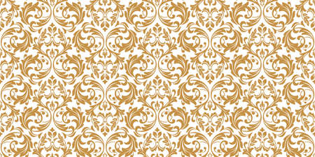Wallpaper in the style of Baroque. Seamless background. White and gold floral ornament. Graphic pattern for fabric, wallpaper, packaging. Ornate Damask flower ornament 写真素材