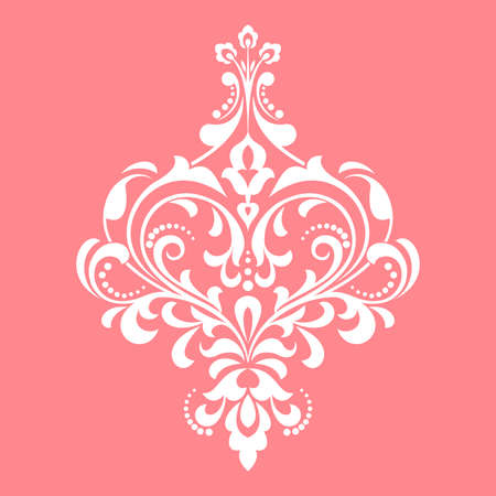 Damask graphic ornament. Floral design element. Pink pattern Фото со стока