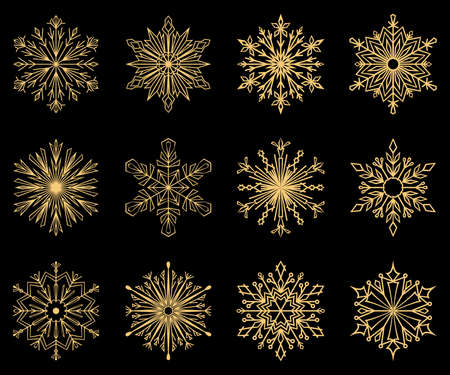 Snowflakes icon collection. Graphic modern gold ornament Stok Fotoğraf
